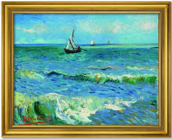 """Vincent van Gogh: Bild """"Das Meer bei Les Saintes-Maries-de-la-Mer"""" (Gold gerahmt)"""
