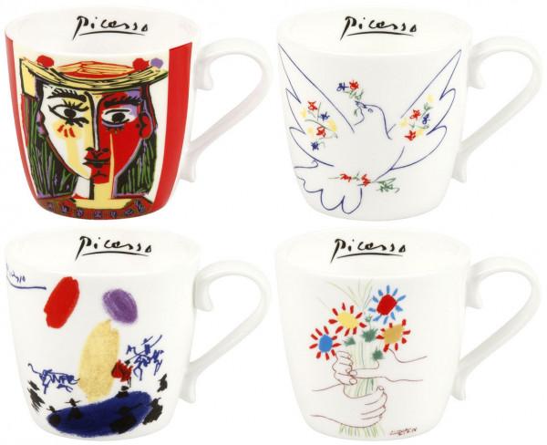Pablo Picasso: 4 Becher mit Künstlermotiven/Set